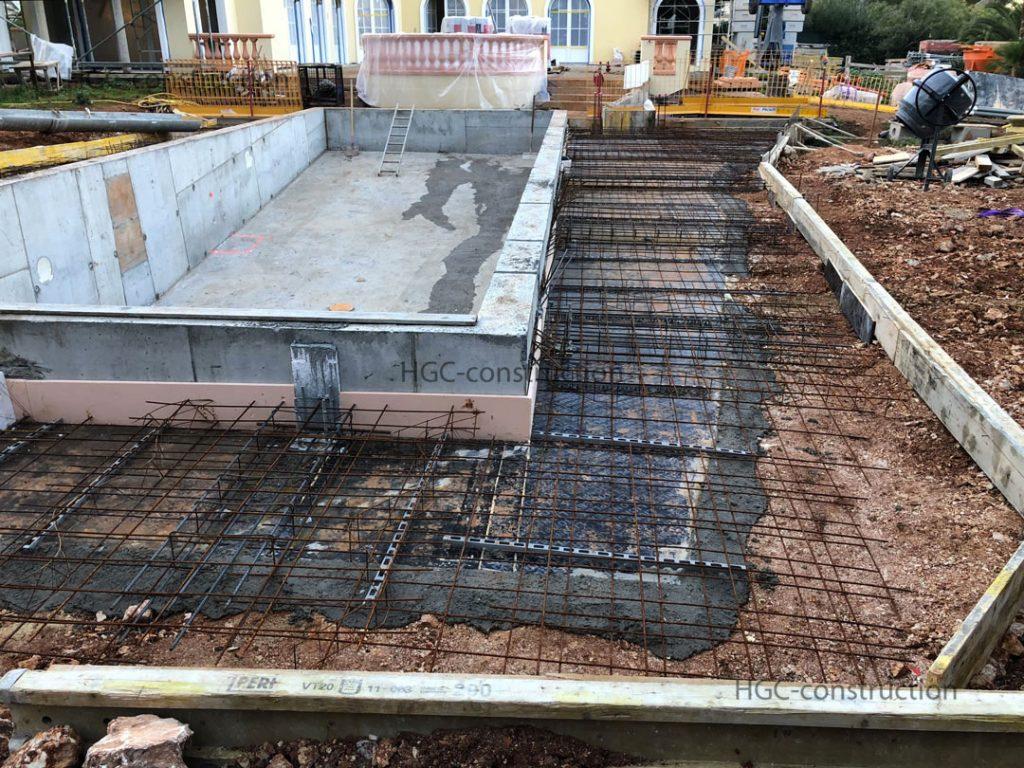 Подготовка арматурный вязки для заливки бетона